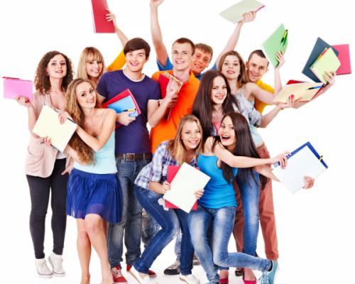 students-celebrating-600x534